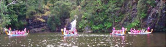 dragon boats at the forth falls