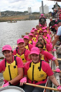 DANTI members on the Tamar Titillator on their very first dragon boat paddle after the blessing of the boat
