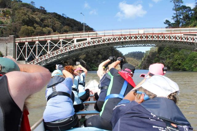 The Tamar River in Launceston offers a scenic paddle for the dragon boat crew